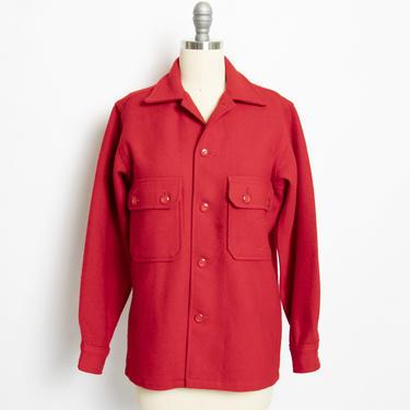 1970s BSA Heavy Shirt Wool Red Button Up S by dejavintageboutique