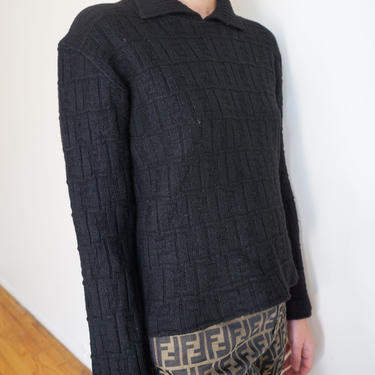 Vintage Fendi Zucca 1990s Black Collared Neck Knit Sweater FF 90s Monogram Logo 90s XS S M Polo by backroomclothing