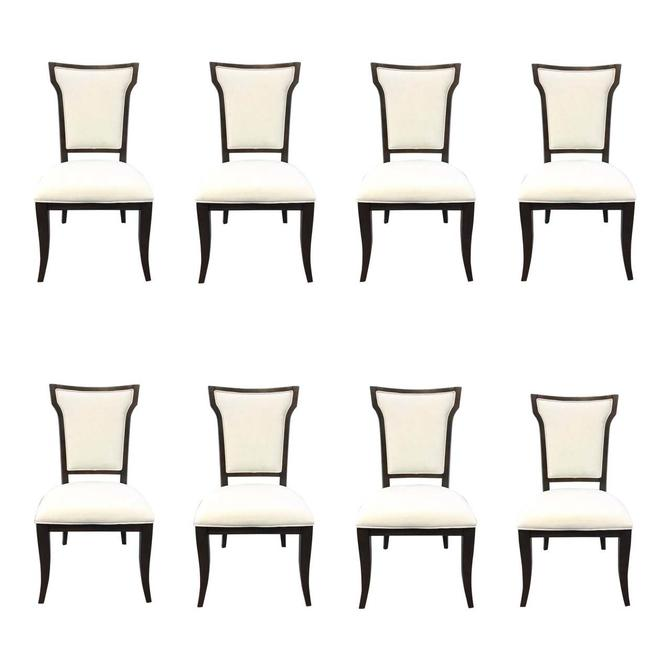 Modern White Upholstered and Dark Walnut Finished Wood Dining Chairs Set of Eight