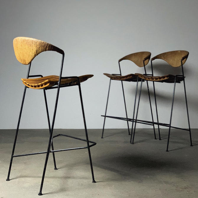 Modernist Iron Stools by Arthur Umanoff by midcenTree