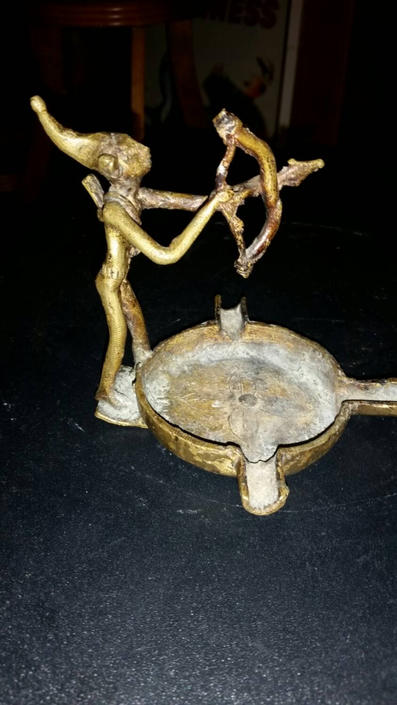 Beautiful Antique Bronze Elf Ashtray. Elf Figurine is holding a bow and arrow. 3 stem ashtray. Rare and Unique. Early century piece. by MOBvintage