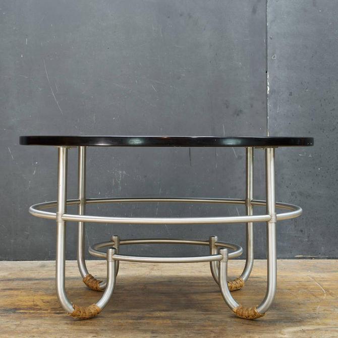 Vintage Mid-Century Art Deco 1930s Warren McArthur Art Deco Aluminum Coffee Table Rattan by BrainWashington