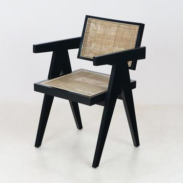 Pierre Jeanneret Office Chair Black Original Weave by ShopInteriorTonic