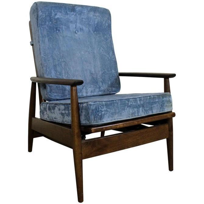 Mid-Century Danish Modern High Back Rocker Walnut Lounge Chair by AnnexMarketplace