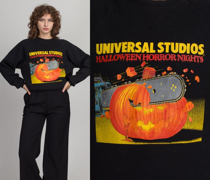80s Halloween Horror Nights Universal Studios Sweatshirt - Men's Medium, Women's Large   Vintage Black Pumpkin Graphic Slouchy Pullover by FlyingAppleVintage