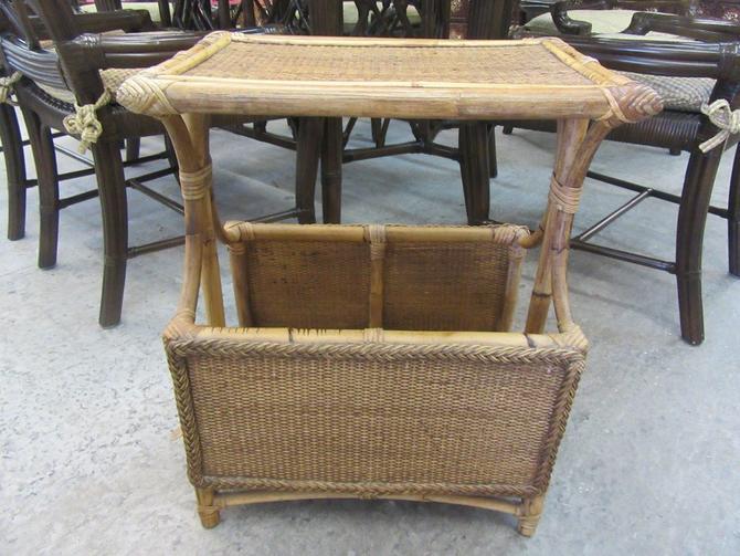 Bamboo Side Table Magazine Rack