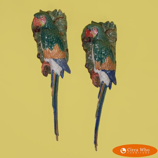 Pair of Ceramic Parrot Sconces