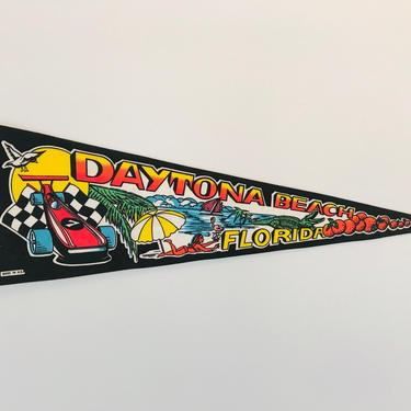 Vintage Daytona Beach Florida Souvenir Pennant by DelveChicago