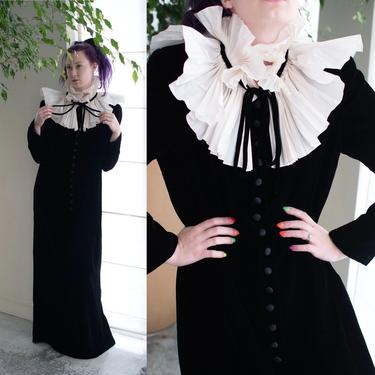 1980s Black Velvet Ruffled Collar Dress | Oscar de la Renta by FemaleHysteria