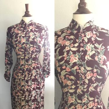 Vintage floral maroon long sleeve maxi dress with corset back and mandarín collar Small or Medium by honeycombvintage