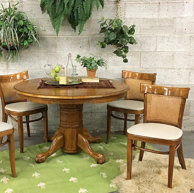 LOCAL PICKUP ONLY Vintage Dining Table 1980s Brown Wood Circular Dining Room Table With Lions Feet Leaf Wood Grain and Carved Details by RetrospectVintage215