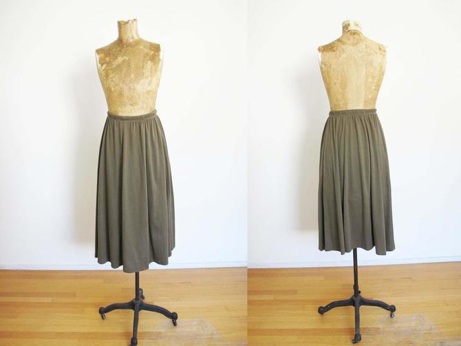 Vintage 80s Jersey Midi Skirt XS S - Elastic High Waist  Skirt - 1980s Olive Green Long Soft Skirt - Solid Color - Minimalist - Earth Tone by MILKTEETHS