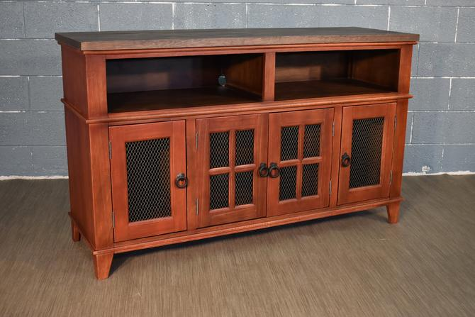Industrial Rustic Solid wood 60 inch TV stand Media Console / Entertainment console withMesh Doors by RusticShop1
