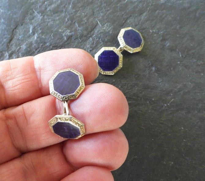 Art Deco Blue Enamel Cufflinks by LegendaryBeast