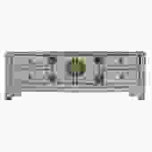 Chinese Distressed Light Gray Low TV Console Table Cabinet cs5402S