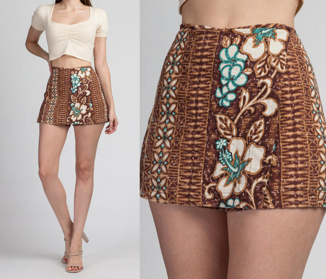 Vintage Hawaiian Floral Mini Skort - Large | 70s 80s Deja Vu Kauai Tiki Floral Shorts by FlyingAppleVintage