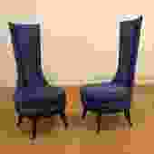 Pair of Tall Back Blue Vintage Chairs