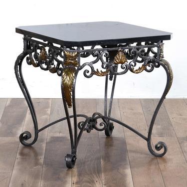 Black Scrolled Metal End Table W Black Stone Top