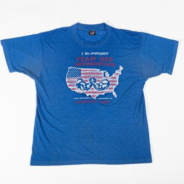 1995 World Wristwrestling Championships Threadbare T Shirt - Extra Large   Vintage 90s Arm Wrestling Distressed Blue Burnout Graphic Tee by FlyingAppleVintage