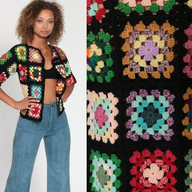 70s Cardigan Sweater AFGHAN BLANKET Crochet Jacket Rainbow Poncho Vest Open Weave Wrap Hippie Boho 1970s Seventies Bohemian Extra Small xs by ShopExile