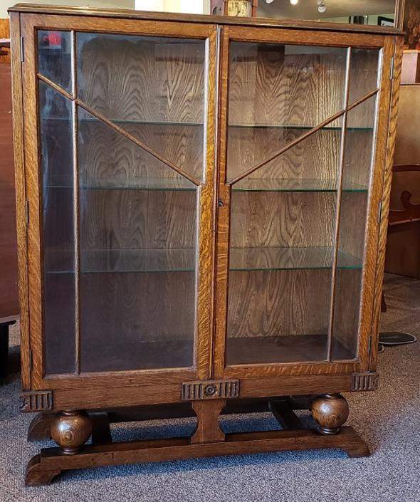 Item #S2 English Oak Deco Display Cabinet / Bookcase c.1930s