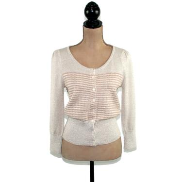 Y2K Knit Cardigan Women Small, Button Up Sweater, Gray with Beige Stripes, Dressy Sparkly Silver Gold Metallic, 3/4 Sleeve Scoop Neck Top by MagpieandOtis