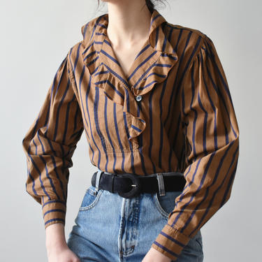 vintage striped ruffle collar shirt, puff sleeve cotton blouse, size S by ImprovGoods