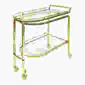 Expandable Brass and Glass Rolling Serving Cart 1960s - SOLD