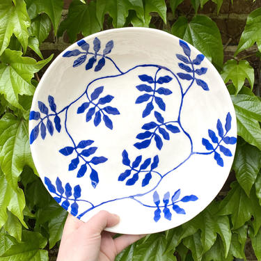 Wild Vine Serving Bowl - Cobalt Blue and White Handmade and Hand-Painted Ceramic Bowl with Botanical Pattern - 10-Inch Diameter by BirdstoneCeramics