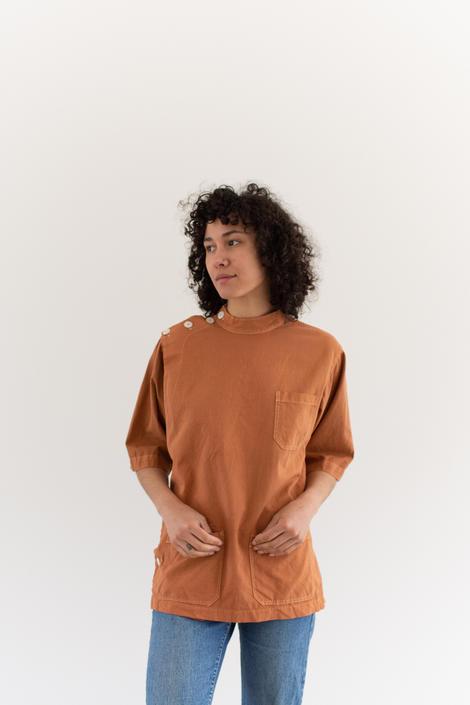 The Wardlea Smock in Carrot Orange | Vintage Overdye Side Button Painter Shirt | Short Sleeve Studio Tunic | Artist Smock | S M L by RAWSONSTUDIO