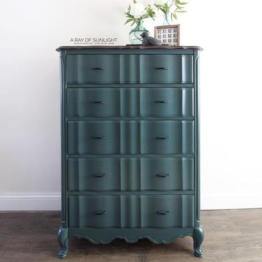 Teal Dresser - French Provincial - Tall Dresser - Blue Painted Furniture - Farmhouse Style - Vintage Furniture - Chest of Drawers - TV Stand by ARayofSunlight
