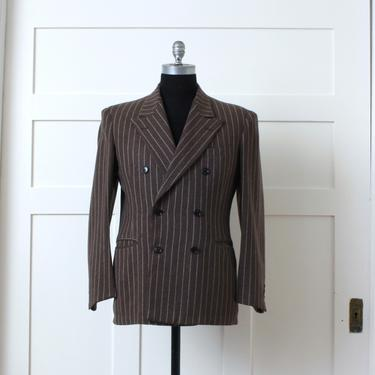 mens vintage 1940s chalkstripe blazer • brown wool wide lapel sports coat • double breasted fit by LivingThreadsVintage