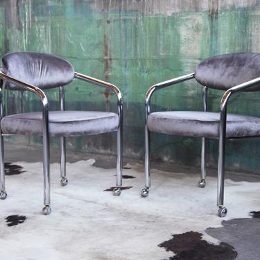 STUNNING PAIR Mid Century Post Modern 70s chrome tubular arm chairs chair Casters Mascheroni in Grey Velvet. CHIC. Postmodern. Hollywood by CatchMyDriftVintage