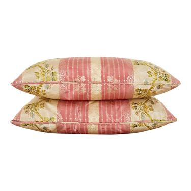 Pair of Pink and Green Stripe Foliate Silk Pillows by ErinLaneEstate