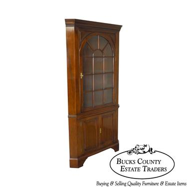 Stickley Solid Mahogany Chippendale Style Corner Cabinet (B) by BucksEstateTraders