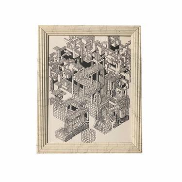 80s Print in the Style of MC Escher, Homemade Mid Century Art, MCM Wall Art, Mid Century Print by VivaLaVintagedotTX
