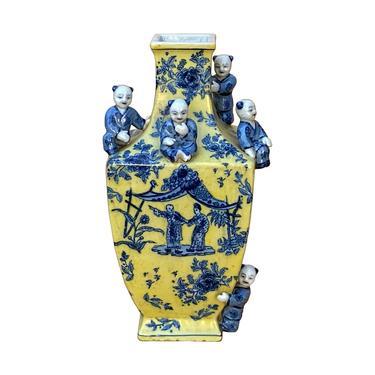 Chinese Yellow Blue Dimensional Kids Motifs Square Porcelain Vase ws1605E by GoldenLotusAntiques