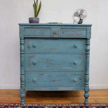 Vintage Dresser Painted Blue Green Turquoise Teal, Antique Dresser, Shabby Chic Distressed Chest of Drawers, Free NYC Delivery by AntiqueBoutiqueNYC