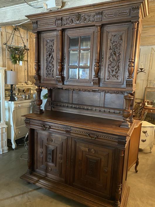 Gorgeous Antique 1800's Oak Carved Cabinet