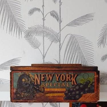 Vintage Fruit Box, Shipping Crate, New York Special, Jim Takvorian, California Grapes, Train motif, circa 20's by DecoDiscoDecor