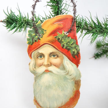 Early 1900's Victorian Die Cut and Tinsel Belsnickel Santa Scrap Ornament by exploremag