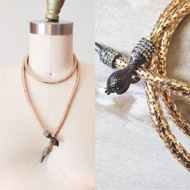 Snake belt necklace, choker necklace, mesh gold necklace, rhinestones gold belt, boho jewelry, snake choker by ErstwhileStyle