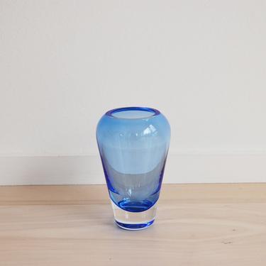 Vintage Glass Crystal Blue Flower Vase by MidCentury55