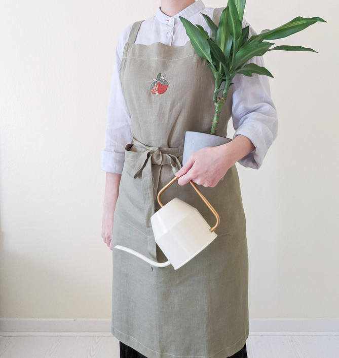 French linen aprons for women with pockets retro, Sage hand embroidered cross back apron with ties, Washed linen apron, Cooking gift for mom by APattesDeVelours