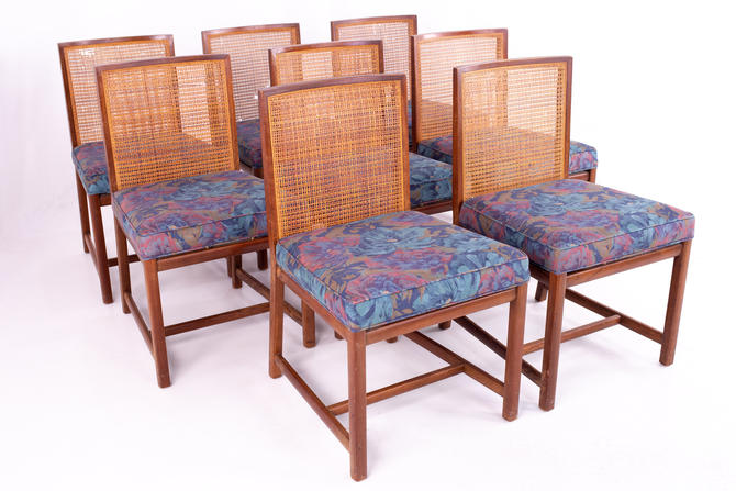 Michael Taylor for Baker Mid Century Caned Walnut Dining Chairs - Set of 8 - mcm by ModernHill