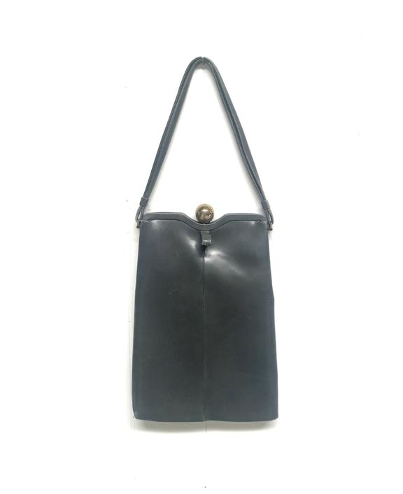 Vintage 1950s Charcoal Leather Handbag, Gray Mid-Century Top Handle Purse, Genuine Calfskin Dobbie Bags by RanchQueenVintage
