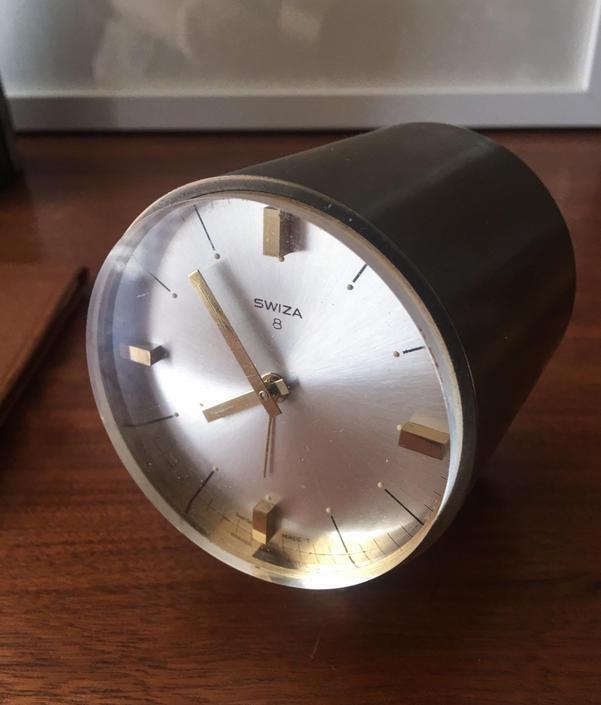 Swiza Brass Desk Clock Vintage Mid Century Modern George Nelson Germany Designer Object by CaribeCasualShop