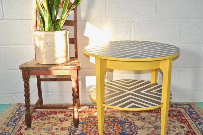 Tiered Grey & Yellow Accent Table
