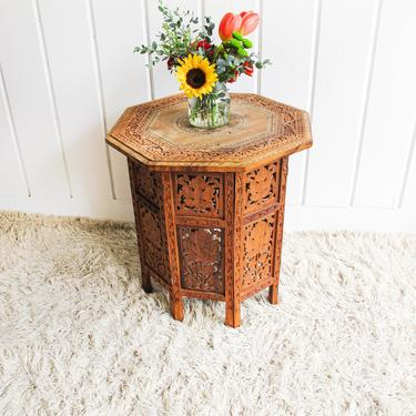 Gorgeous Hand-Carved Hexagon Geometric Shape Vintage Bohemian Solid Wood Folding Side Table with White Shell Inlay Inlay by PortlandRevibe
