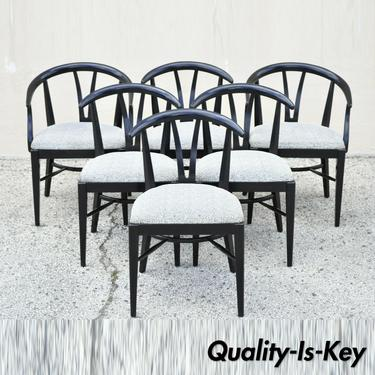 Blowing Rock Mid Century Modern Black Lacquer Wishbone Dining Chairs - Set of 6